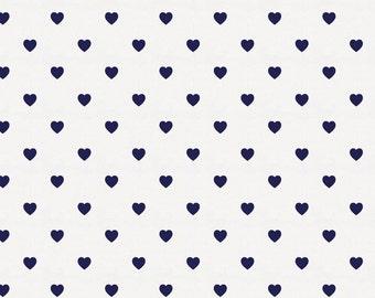 Windsor Navy Hearts Organic Fabric - By The Yard - Girl / Boy / Neutral