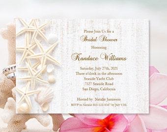 Bridal Shower Invitations Beach Theme Tropical Wedding Shower Seashell Wedding Printable Bridal Shower DIY You Print