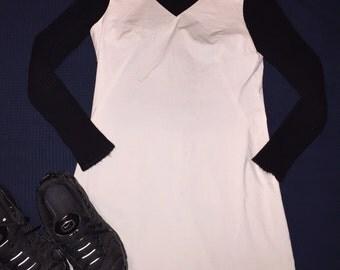 grey 90s mini dress w/ raw hem