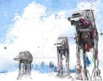 "AT-AT Hoth Battle Abstract Art Panel, 11"" x 17"" art print mounted on board"