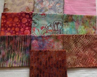 10 pcs Warm Color Scheme Batik. Pre-washed and Ironed. 100% Cotton.
