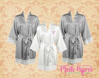 SALE Ships in 10  Days Gray Lace Satin Personalized Set of 10 SATIN Bridesmaids Robes Gift Maid of Honor Gift