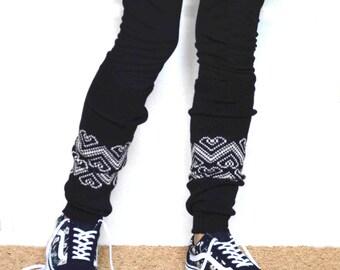 Leg warmers in Black/ Boot cuff / black boot socks / Urban clothing / Knit leg warmers / jacquard legwear / yoga lover / CHOOSE Y