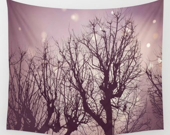 Fairy Branches Wall Tapestry, Twinkly Trees Wall Art, Photo Tapestry, Bare Branches, Living Room Wall Art, Nature, Winter, Dorm