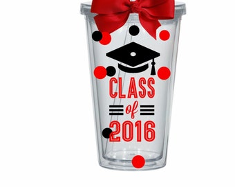 Graduation, Graduate, Class of 2017 Personalized Custom Acrylic Tumbler with Straw