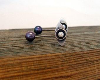 Sterling Silver Pearl Ear Jackets, Pearl Stud Earrings