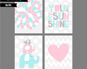 Girl Nursery canvas art, Set of 4 8x10. Pink, Light Aqua Blue Heart, You are my sunshine, Elephants ( S810180 )