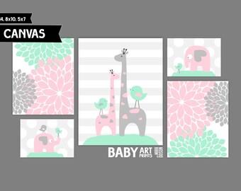 Pink, Mint Nursery canvas art prints Set of 5 Elephant, Giraffe, Birds ( MIX10120 )