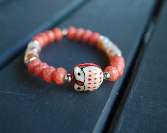 Ceramic Owl And Assorted Bracelets
