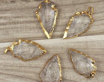 Rock Crystal Quartz Arrowhead Arrow Head Pendant Charm Electroplated in 24k gold Wholesale price of 1, 3, 5, 10 (S8_B18)