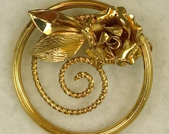 Vintage 12K yellow gold  swirly pin/brooch,  rose and leaves signed CC
