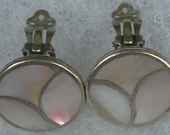 Old pawn sterling silver inlay mother of pearl disc clip on earrings