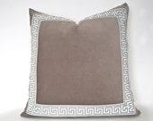 Grey Pillow with Greek Key Trim - Grey Velvet PIllow