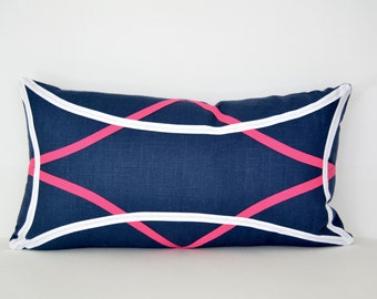Navy Linen Pillow Cover with Pink and White Accents