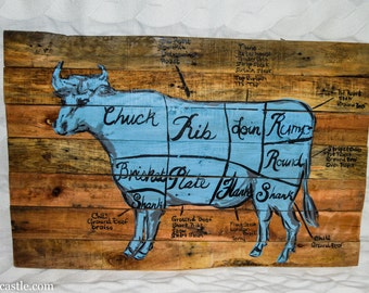 Reclaimed wood sign with a hand-painted blue cow butcher chart.