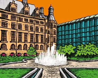Sheffield Art Print: Sheffield Town Hall - Peace Gardens - South Yorkshire UK Print - Home Decor - Gift Idea