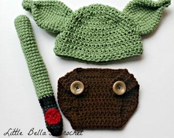Yoda Crochet Baby Prop Costume Newborn 0-3 Months