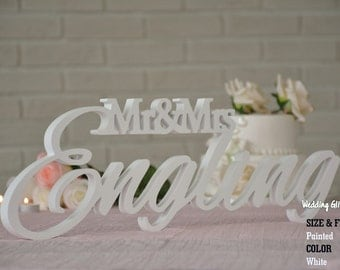Custom Wedding Sign, Name Family Sign, Mr and Mrs LAST NAME, Mr & Mrs Free Standing Custom Wood Letters