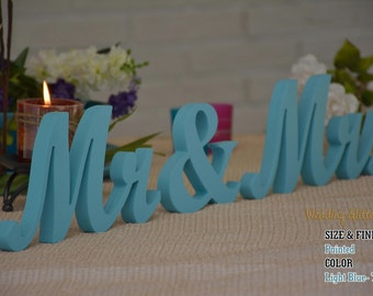 Mr And Mrs Wooden Sign, Mr & Mrs Wall Decor and Mr and Mrs Table Sign