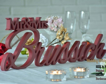 Mr Mrs Last Name, Personalized Wedding Sign, Mr & Mrs Family Name, Sign For Your Sweetheart Table. Available DIY, Painted, Glittered
