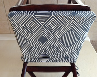 Geometric print seat cushion cover, kitchen chair pad, gunmetal blue/gray on cream cotton fabric, counter bar stool seat pad cover, washable
