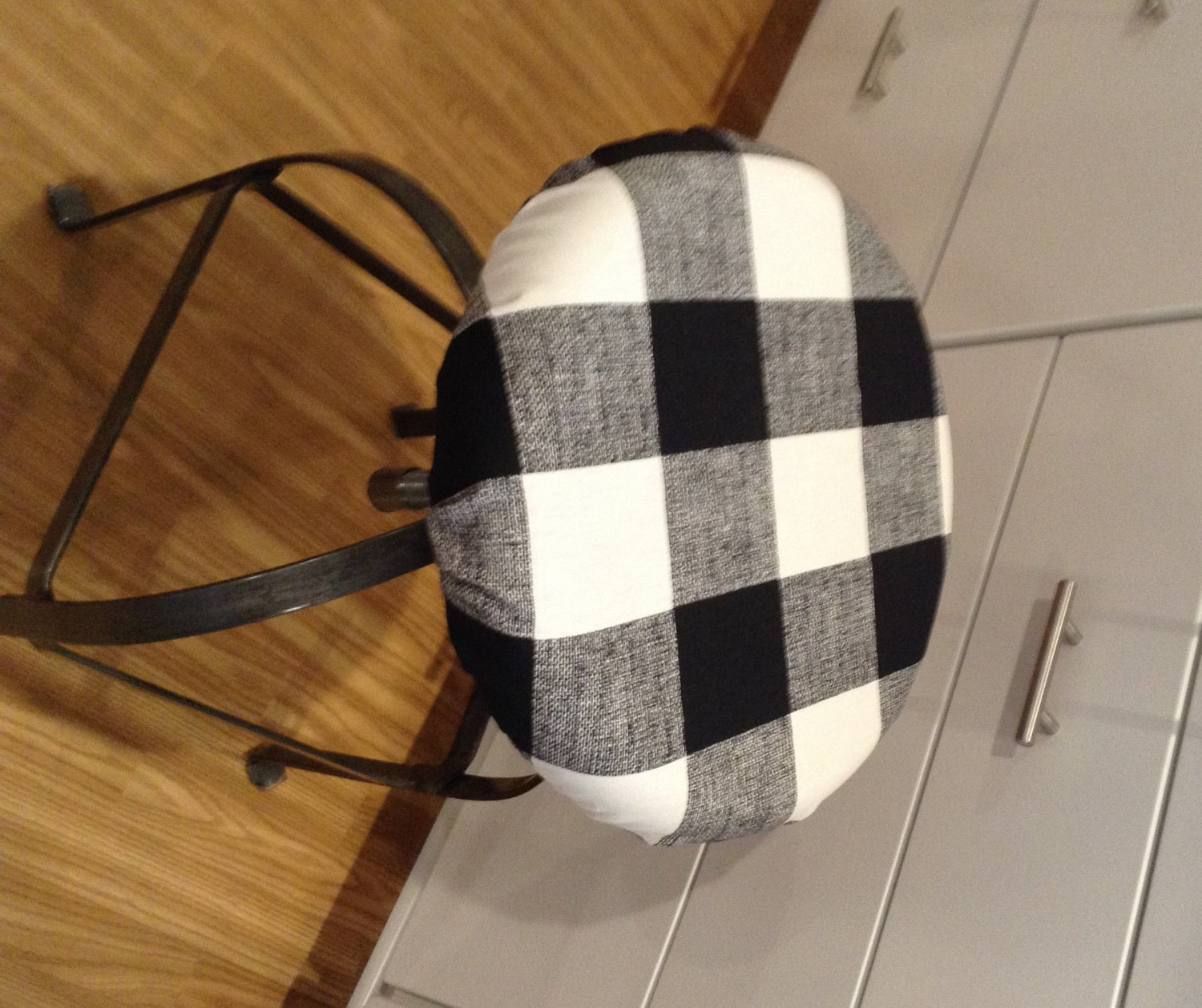Black And White Buffalo Check Barstool Cushion Cover