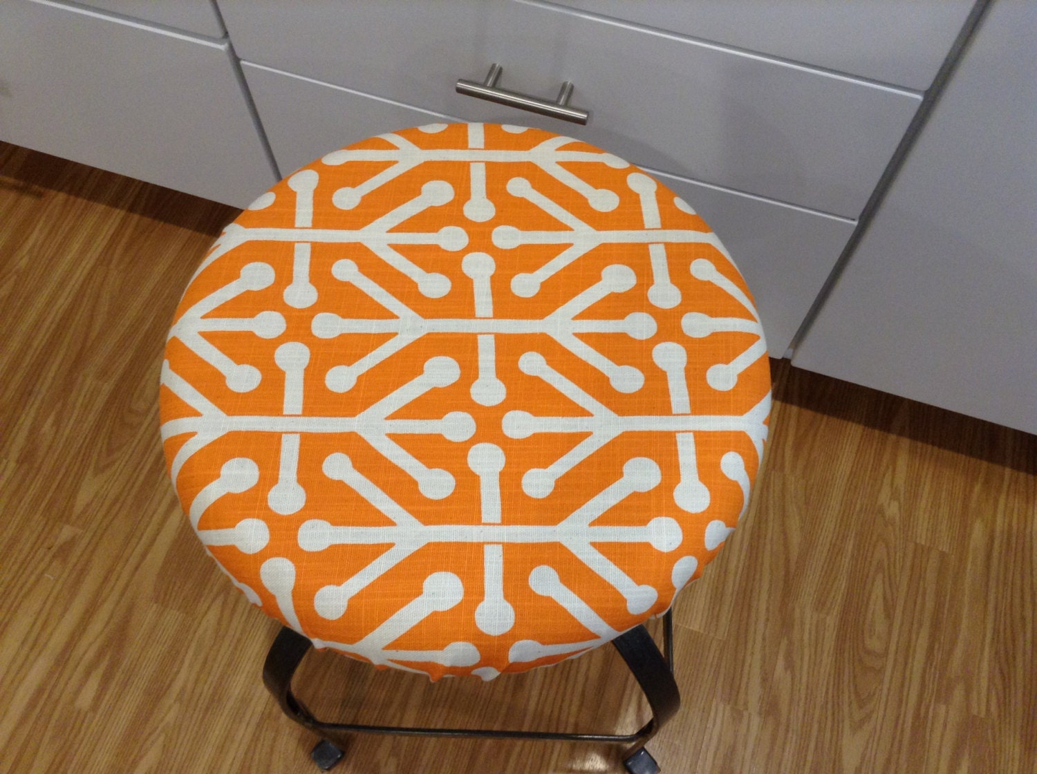 Elasticized Round Barstool Cover Counter Stool Cover Orange