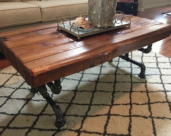 Steel and Cedar Coffee Table - 3.5in Thick Table Top