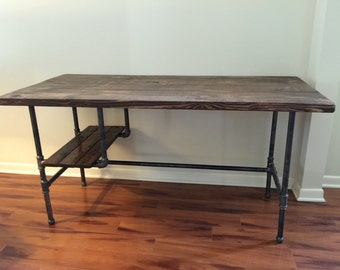 Steel and Wood Desk w/ Shelf Style 2
