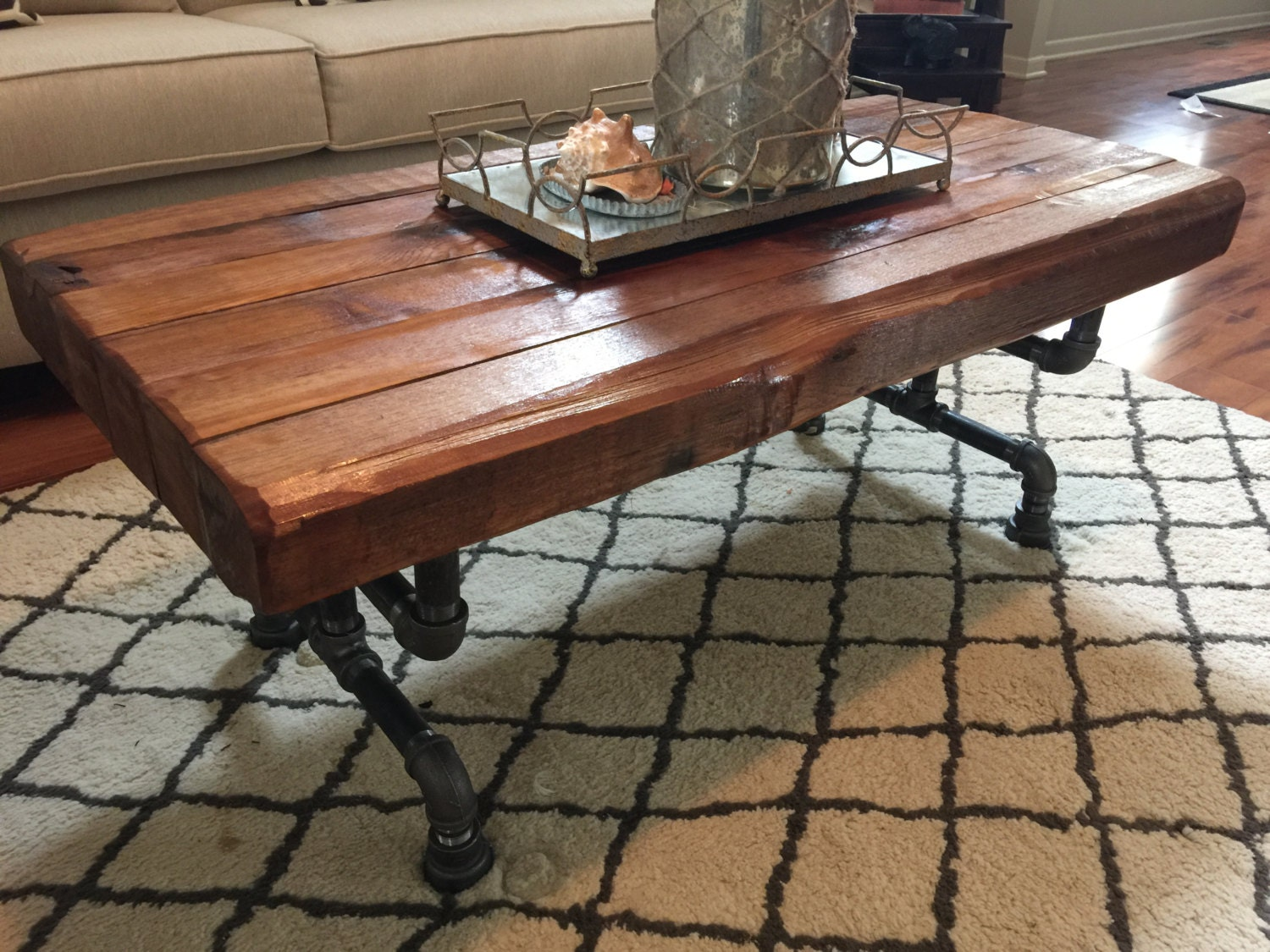 Steel and cedar coffee table 35in thick table top zoom geotapseo Choice Image