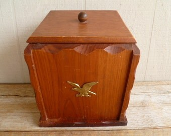 Vintage Wood Ice Bucket Eagle Early American
