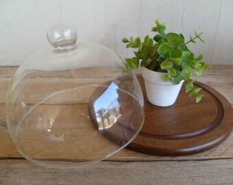 Glass Dome Cloche Wood Cheese Board