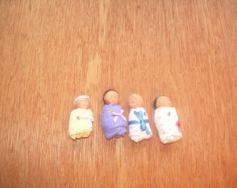 OOAK handmade polymer clay baby with hair in 1:12  scale by Mimi of Minnies Miniatures