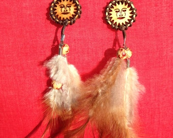 Wood and Feather Sun Earrings