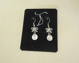 Bow and Disc Dangle Earrings with Crystals