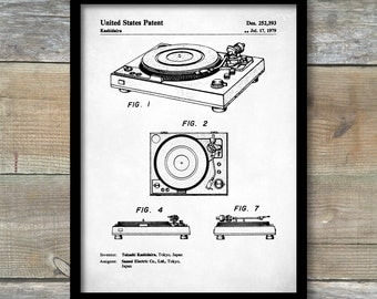 Patent Print, Record Player Patent, Record Player Poster, Record Player Print, Turntable Art, Turntable Decor, Record Player Wall Art, P224