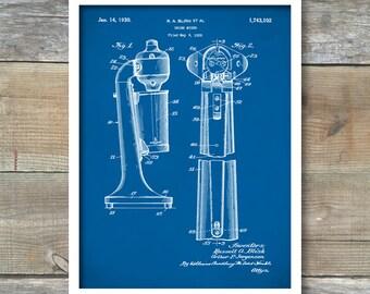 Drink Mixer Patent Print, Maltshop Poster, Drink mixer Patent, Kitchen Art Print, Maltshop Mixer Print - P297