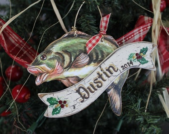 Christamas Ornament, Hand Painted Personalized Bass Fishing Christmas Ornament
