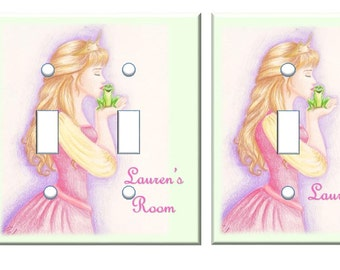 Princess Frog and the Kiss Light switch cover PERSONALIZED