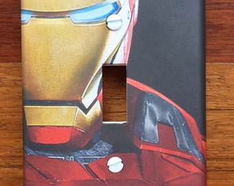 Iron Man Light switch plate wall cover // Personalized // SAME DAY SHIPPING**