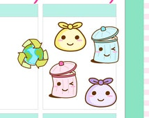 """4x5"""" Kawaii Trash can garbage can Label Planner Planning Cute Sticker Stickers for Erin Condren Vertical Life Amelie #0463"""