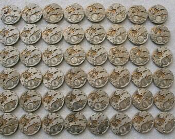 "6/8"". Set of 48 Vintage Soviet Watch movements , steampunk parts , cuff links supplies , clockwork movements"