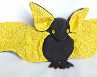 Bat plush fleece, Halloween bat plush toy, soft bat, yellow black plush, Halloween gift