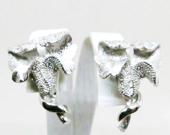 Floral Earrings - Vintage, Coro Signed, Silver Tone Floral Clip-on Earrings