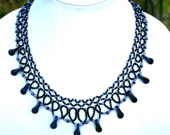 Black and Blue Beadwoven Necklace