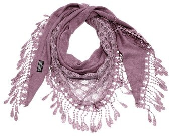 Half Lace Triangle Scarf in Plum