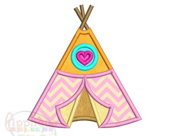 Teepee <3 sizes included: 4x4, 5x7, 6x10> Applique Design Embroidery Machine -Instant Download File