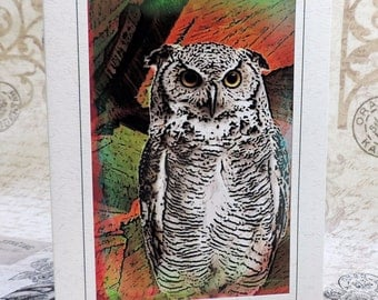 Owl Art Greeting Card, Owl Note Card, Abstract Owl Art