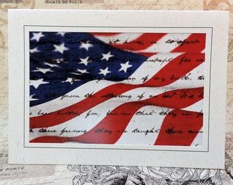 American Flag Greeting Card, Patriotic, Military Greeting Card