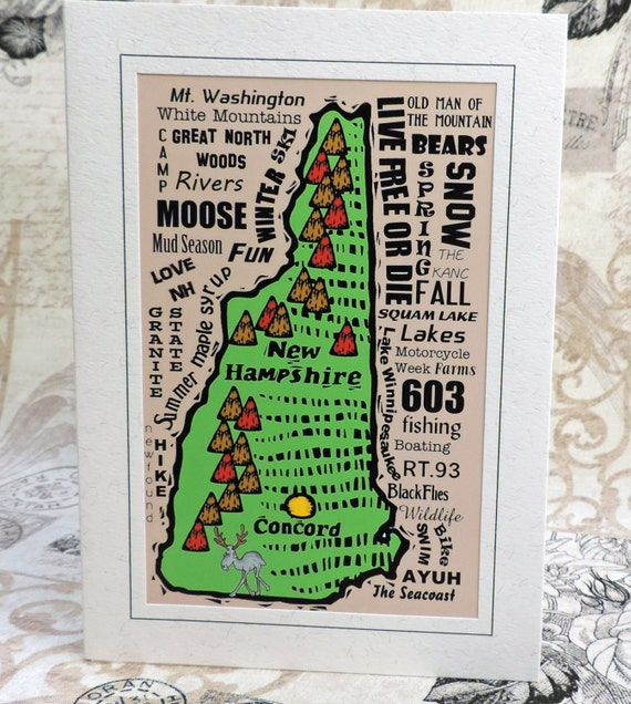 New hampshire map word art greeting card